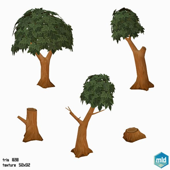 Low Poly Tree Set - 3DOcean Item for Sale
