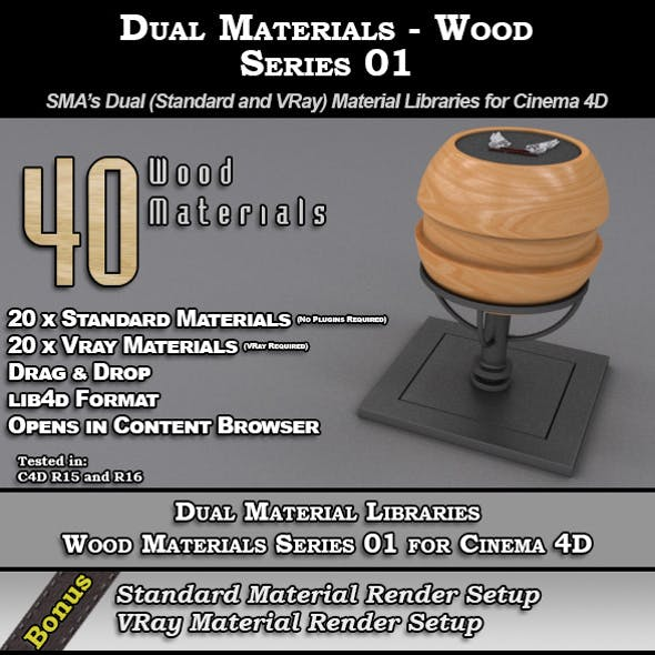 SMA's Dual Material Pack - Wood - S01 for C4D