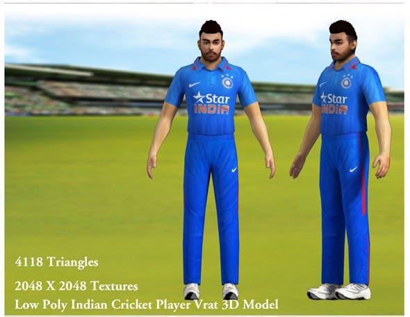 Low Poly Indian Cricket Player Vrat 3D Model - 3DOcean Item for Sale