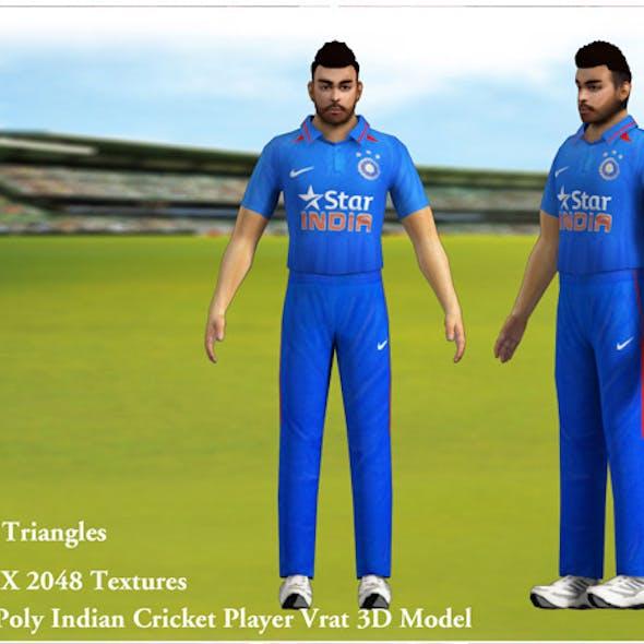 Low Poly Indian Cricket Player Vrat 3D Model