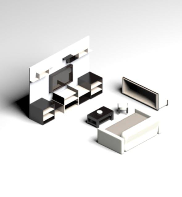 Modern Living Room Set - 3DOcean Item for Sale