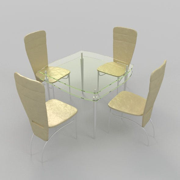 Coffee Table With Chairs-5 - 3DOcean Item for Sale
