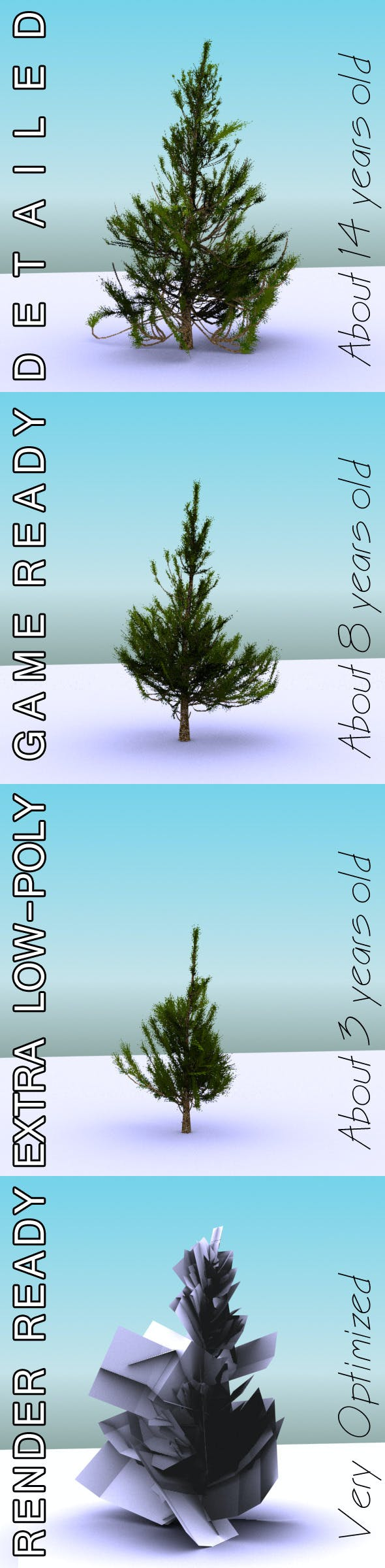 GameReady Low Poly Tree Pack 2 (Aleppo Pine) - 3DOcean Item for Sale