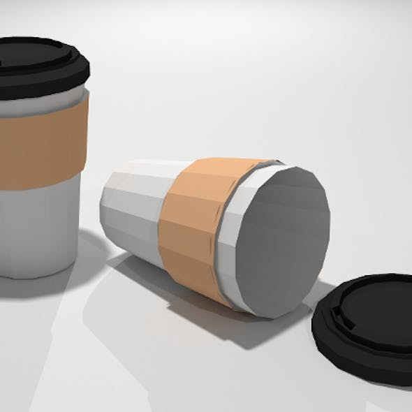 Low Poly Paper Coffee Cup