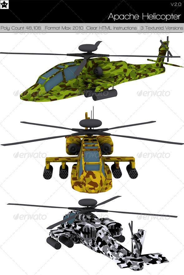 Apache Helicopter - 3DOcean Item for Sale