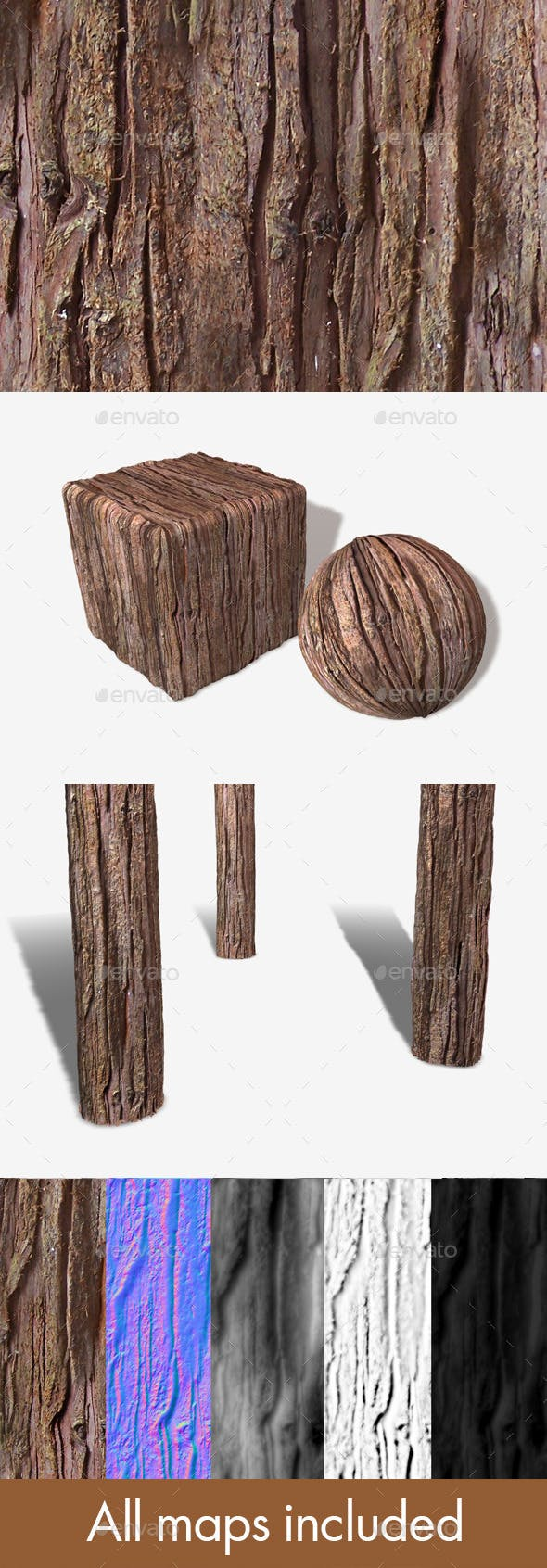 Red Tree Bark Seamless Texture - 3DOcean Item for Sale
