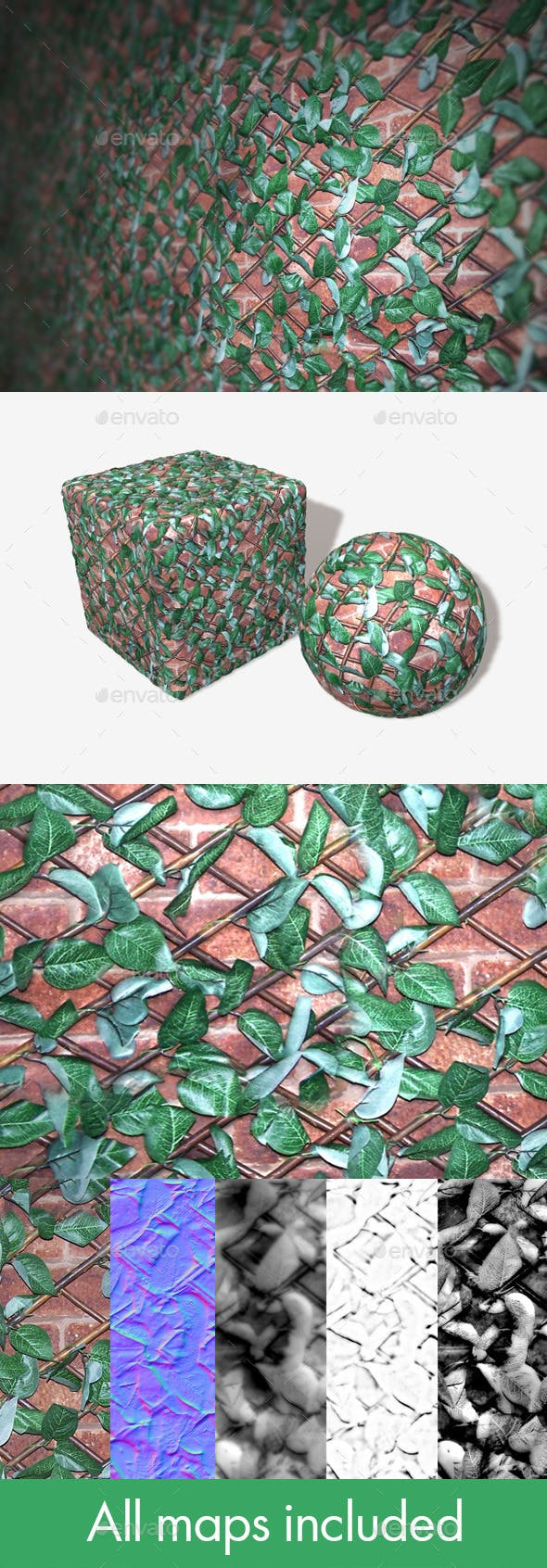 Leafy Wall Trellis Seamless Texture - 3DOcean Item for Sale