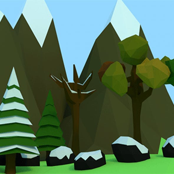 Low Poly Trees, Rocks & Mountains