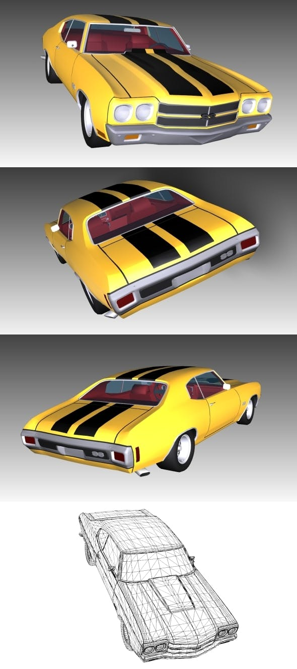 Low Poly Chevrolet Chevelle - 3DOcean Item for Sale