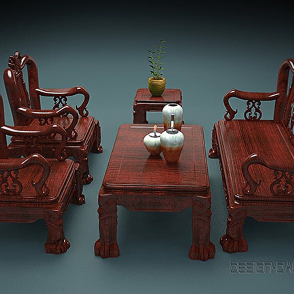 Set of carved wooden Table and Chairs