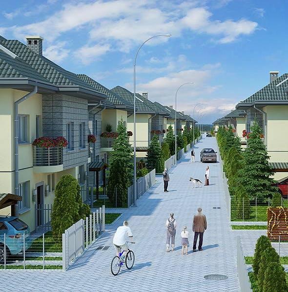 Housing Complex Full Scene (Render Ready) - 3DOcean Item for Sale