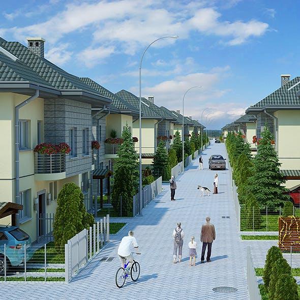 Housing Complex Full Scene (Render Ready)
