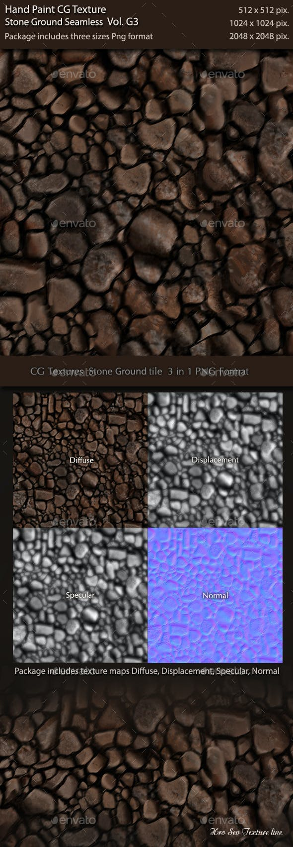 Hand Paint CG Texture Stone Ground Tile G1 - 3DOcean Item for Sale