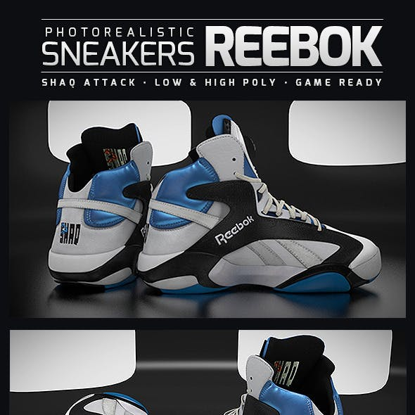 Sneakers Reebok Shaq Attack - Photorealistic