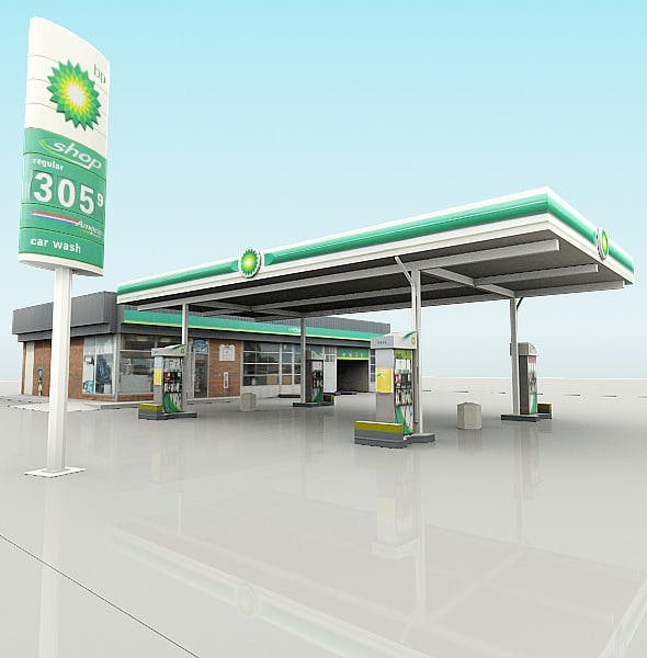 BP Gas Station with Shop and CarWash (RenderReady) - 3DOcean Item for Sale