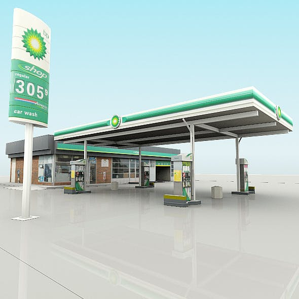 BP Gas Station with Shop and CarWash (RenderReady)
