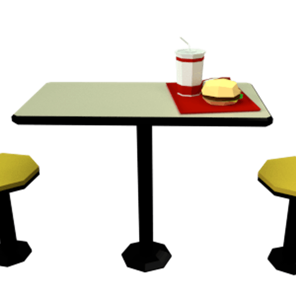 Low Poly Fast Food Meal with Table and Chairs