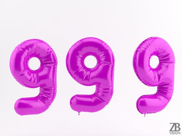 9 nine balloon - 3DOcean Item for Sale