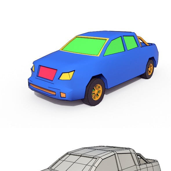 Low Poly Cartoon Car 4