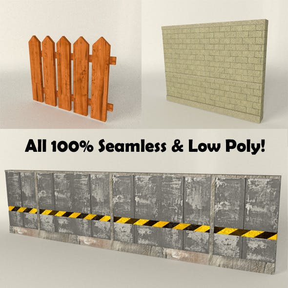 Fence/Wall Seamless Set (low poly)