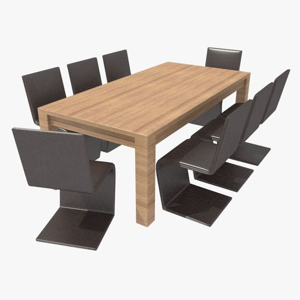 Dining Table With Chair-5 - 3DOcean Item for Sale