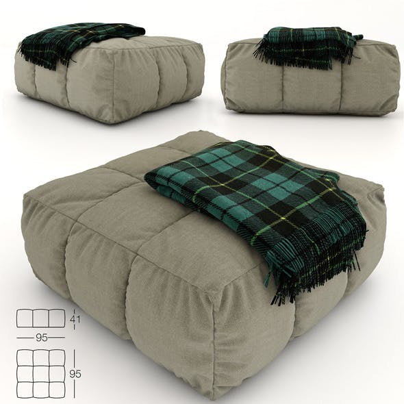 Pouf and plaid - 3DOcean Item for Sale