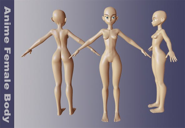 Anime Female Body - 3DOcean Item for Sale