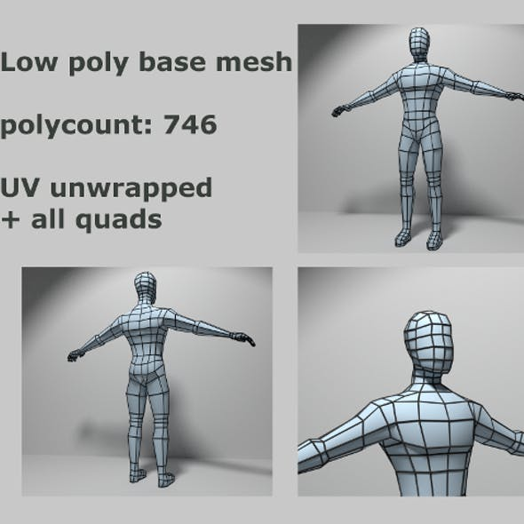 Optimized low poly Male Base mesh