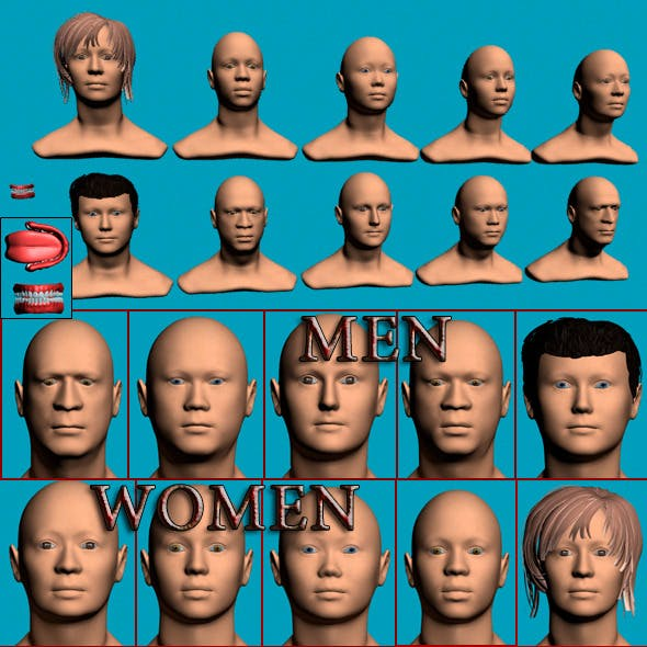 Set of heads 10 in 1 - 3DOcean Item for Sale