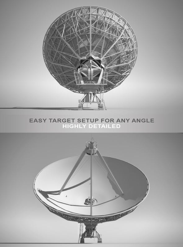 High Detailed Radio Telescope - 3DOcean Item for Sale