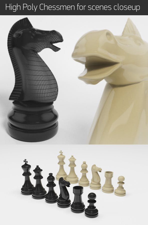 High-Poly Chessmen - 3DOcean Item for Sale