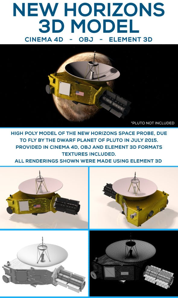 New Horizons Space Probe - 3DOcean Item for Sale