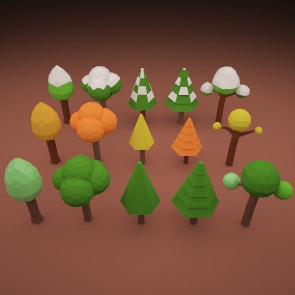 Low Poly Tree Pack 02 - 3DOcean Item for Sale