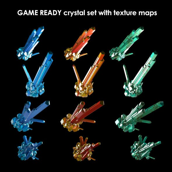 Low Poly Crystal Set Game Asset