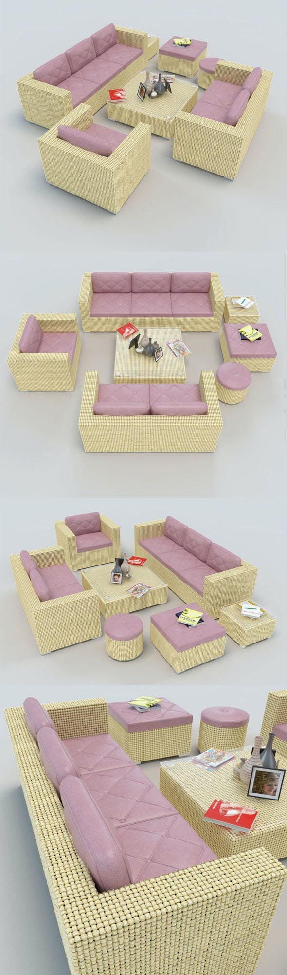 Rattan Sofa set_1 - 3DOcean Item for Sale
