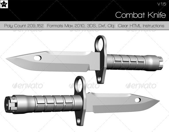 High Poly Combat Knife - 3DOcean Item for Sale