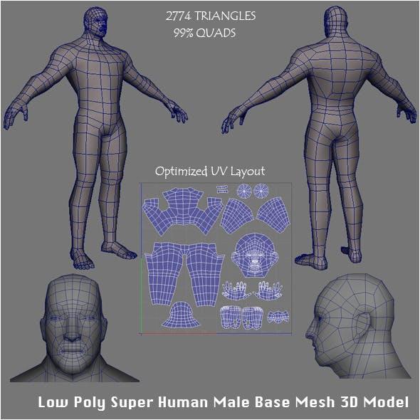 Low Poly Super Human Male Base Mesh 3D Model - 3DOcean Item for Sale