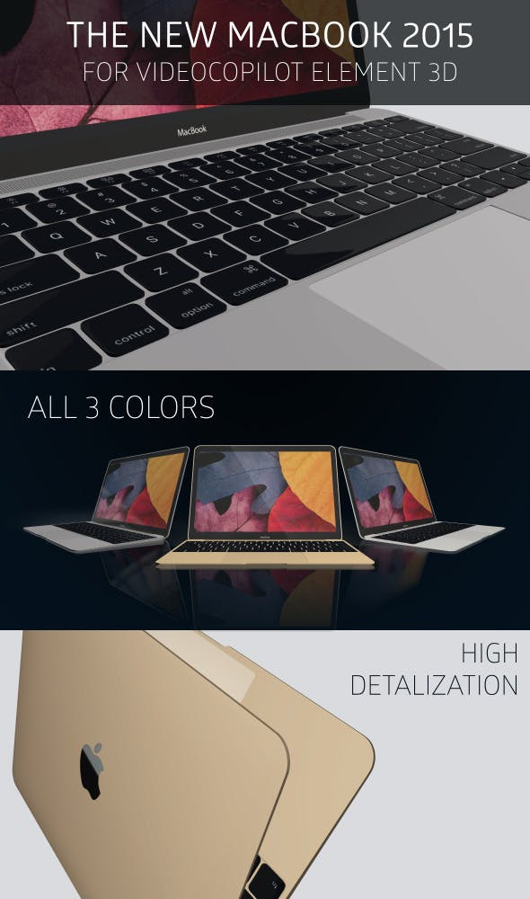 The New MacBook 2015 for Element 3D - 3DOcean Item for Sale