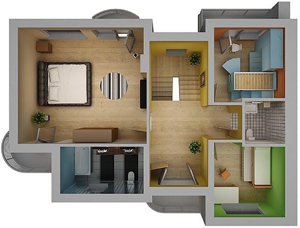 Home Interior Floor Plan 02 - 3DOcean Item for Sale