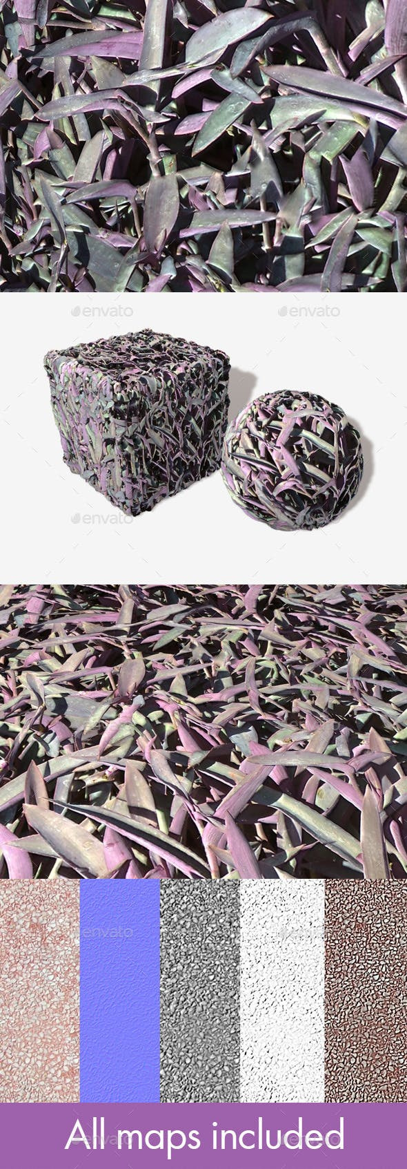 Purple Plants Seamless Texture. - 3DOcean Item for Sale