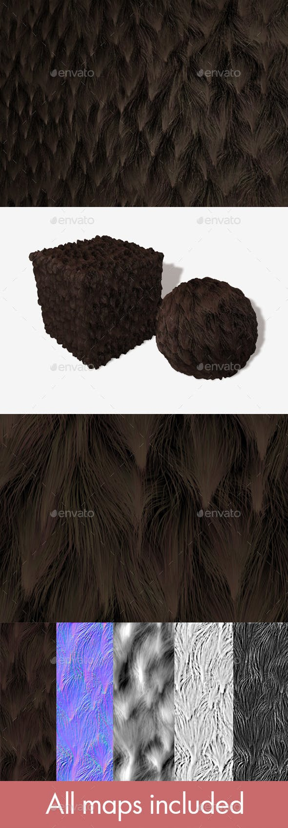 Brown Clumpy Fur Seamless Texture - 3DOcean Item for Sale