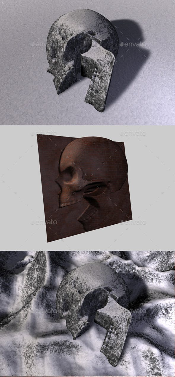 Skull Depth Map 4 - 3DOcean Item for Sale