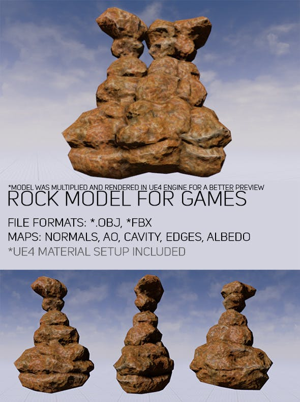 Low Poly Rock For Games - 3DOcean Item for Sale