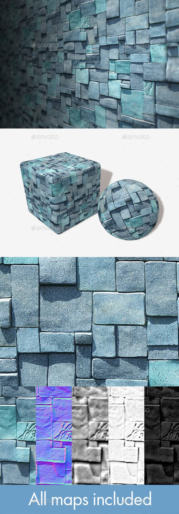 Blue Cube Bricks Seamless Texture - 3DOcean Item for Sale