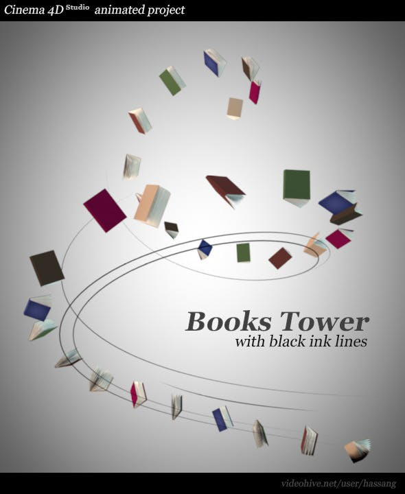 Books Tower with Black Lines Animated - 3DOcean Item for Sale