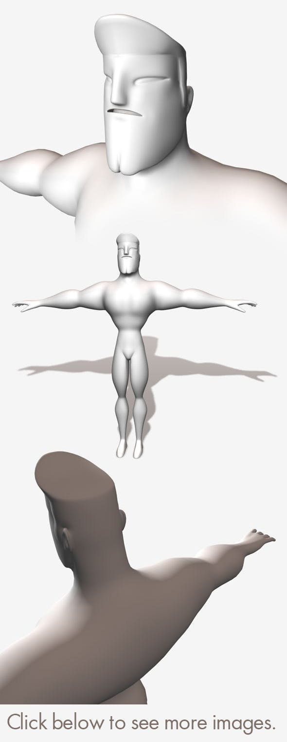 Low Poly Base Mesh Muscular Male Super Hero - 3DOcean Item for Sale