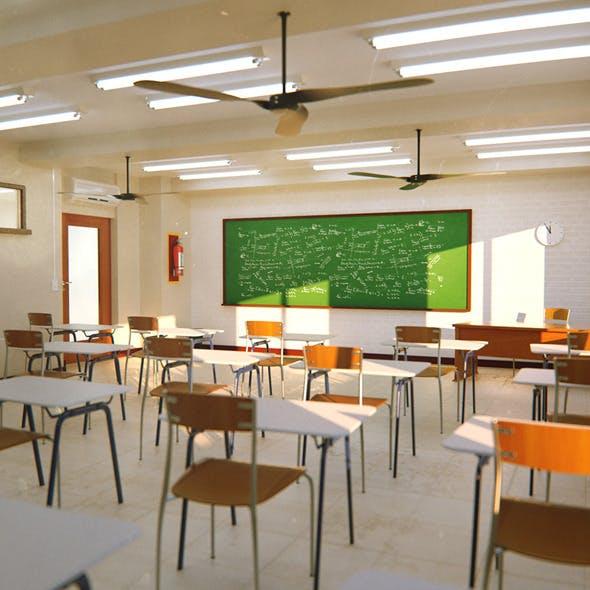 3D Classroom Scene
