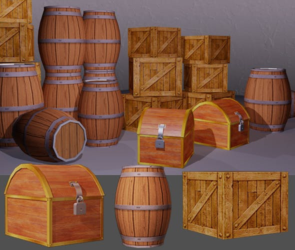 Low poly box and barrel - 3DOcean Item for Sale