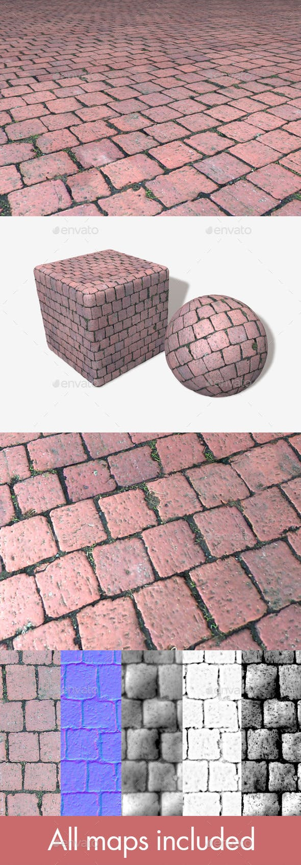 Red Cobblestone Seamless Texture - 3DOcean Item for Sale