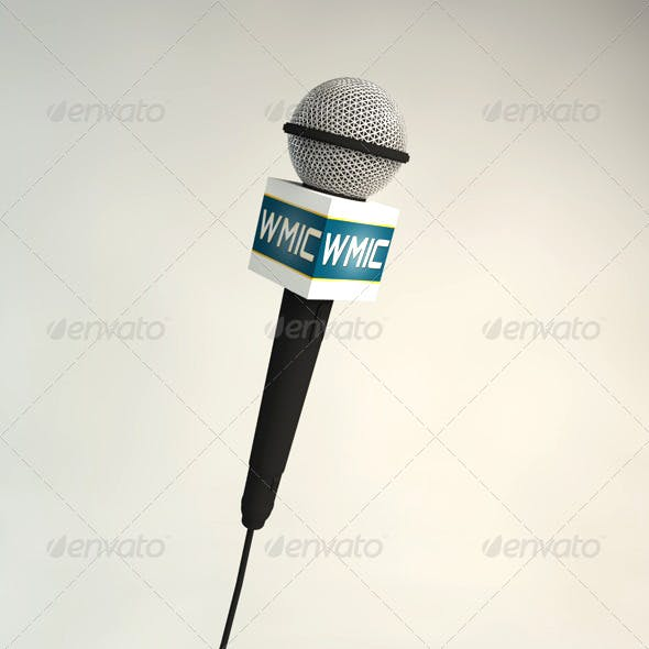 Microphone Model with Mic Flag - 3DOcean Item for Sale